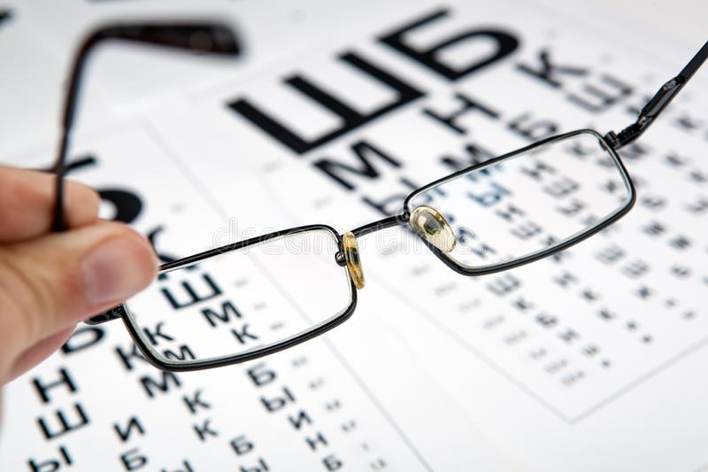 Eyeglasses on the table with a font to determine of eyesight Russian version. Eyeglasses on the table with a font to determine of eyesight Russian stock photo