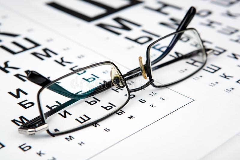 Eyeglasses on the table with a font to determine of eyesight Russian version. Eyeglasses on the table with a font to determine of eyesight Russian stock images