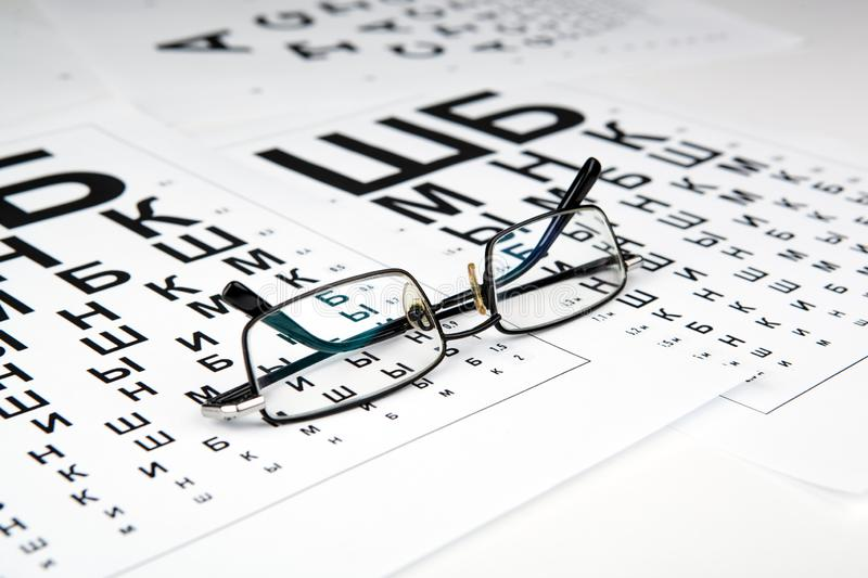 Eyeglasses on the table with a font to determine of eyesight Russian version. Eyeglasses on the table with a font to determine of eyesight Russian royalty free stock photo