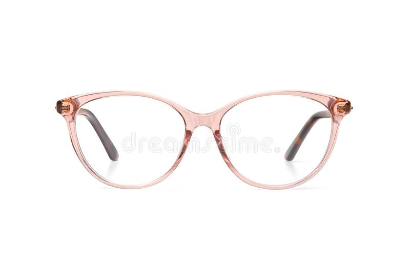Eyeglasses transparent for reading or good vision, front view isolated on white background royalty free stock photography