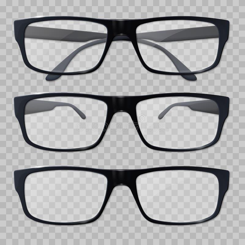 Eyeglasses Vidros para a vista Monóculos realísticos do preto do ícone ilustração stock