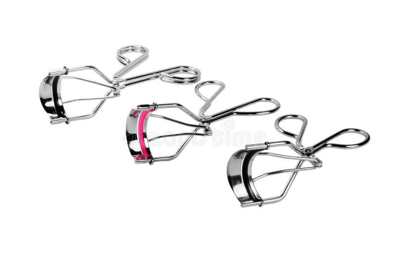 Eyelash curler. Picture of isolated eyelash curler with white background royalty free stock photography