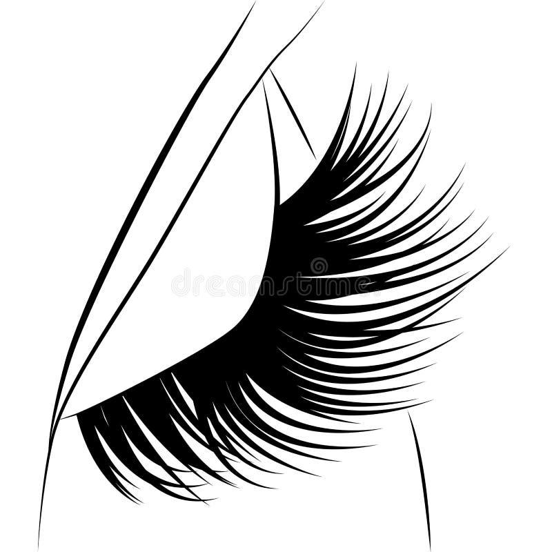 Eyelash esign, background, art, abstract, white, black, beautiful,. Closed eyes with black fluffy eyelashes on a white background royalty free illustration