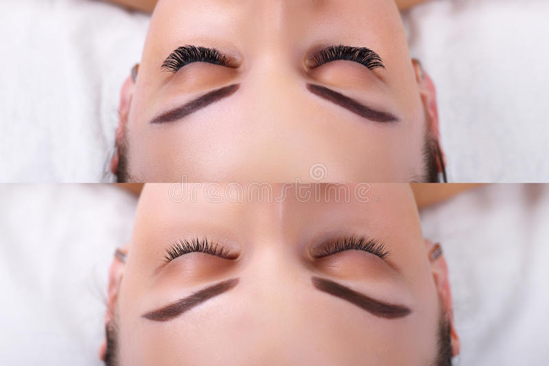 Eyelash Extension. Comparison of female eyes before and after. stock image