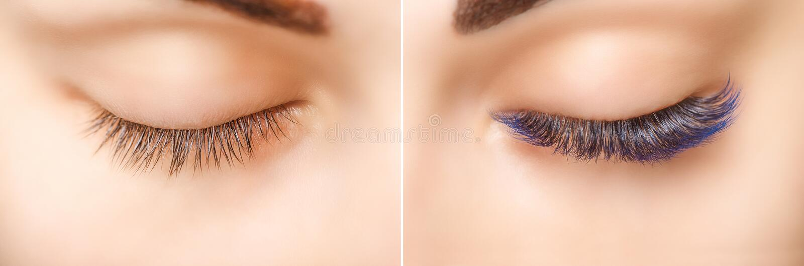 Eyelash Extension. Comparison of female eyes before and after. Blue ombre lashes. Comparison of female eyes before and after eyelash extension. Blue ombre stock photo