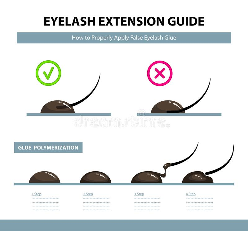 Eyelash extension guide. How to properly apply false eyelash glue. Glue polymerization step by step vector illustration