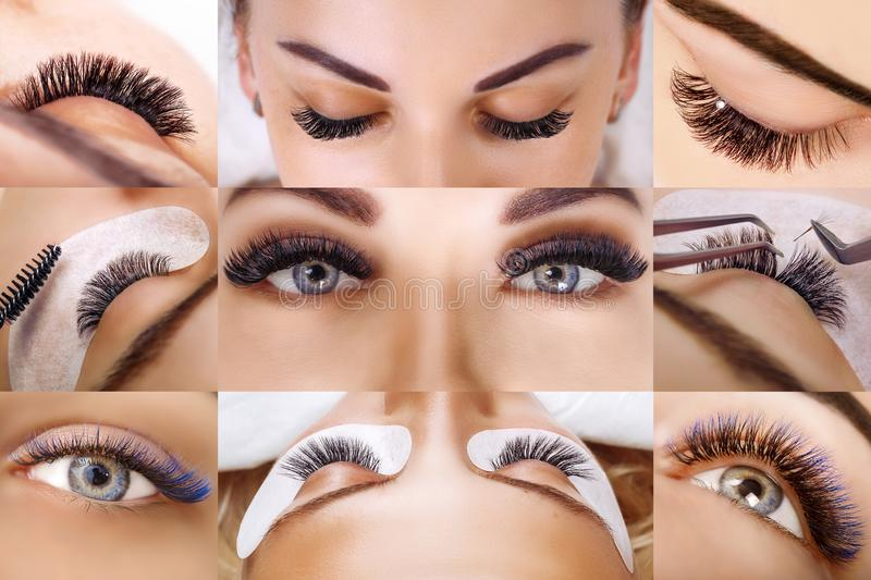 Eyelash extension procedure. Beautiful Woman with long lashes in a beauty salon. Collage. stock photos