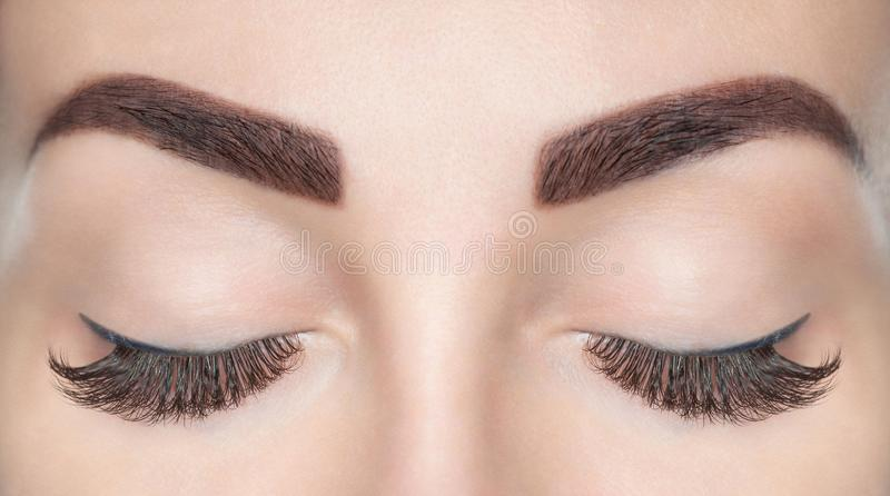 Eyelash extension procedure. Beautiful Woman with long lashes stock image