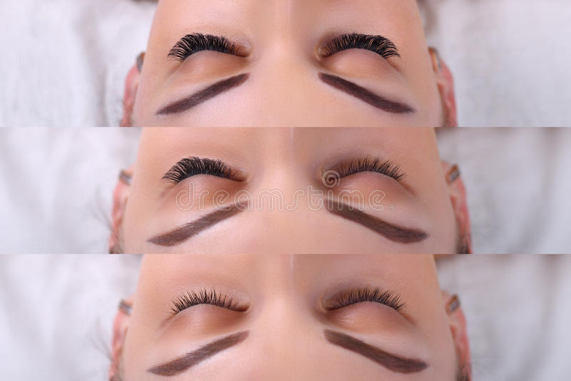 Eyelash Extension Procedure. Comparison of female eyes before and after. Comparison of female eyes before and after eyelash extension royalty free stock images