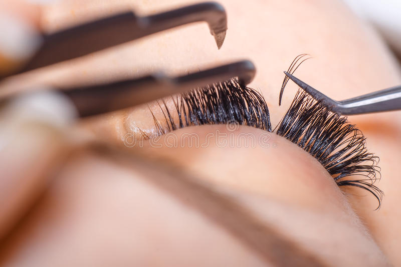 Eyelash Extension Procedure. Woman Eye with Long Eyelashes. Lashes, close up, macro, selective focus. stock photo