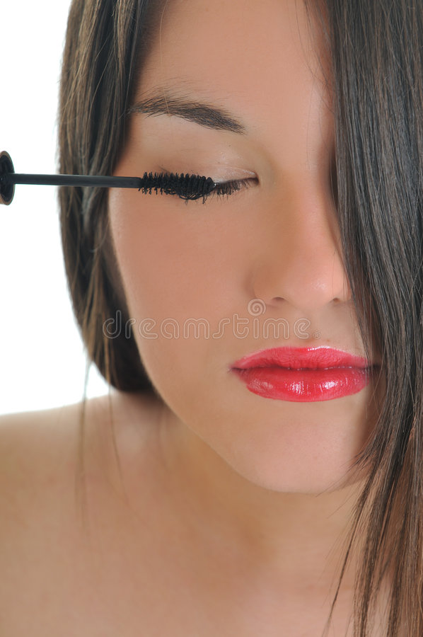 Eyelash mekeup stock photo