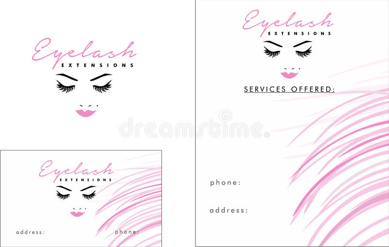 Eyelash modern Logo, Business Card 2 x 3. 5, Flyer 4. 25 x 5. 5. Eyelash elegant modern logo best prices in town royalty free illustration