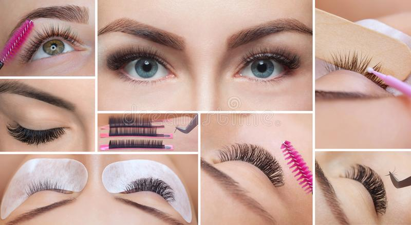Eyelash removal procedure close up. Collage royalty free stock photography