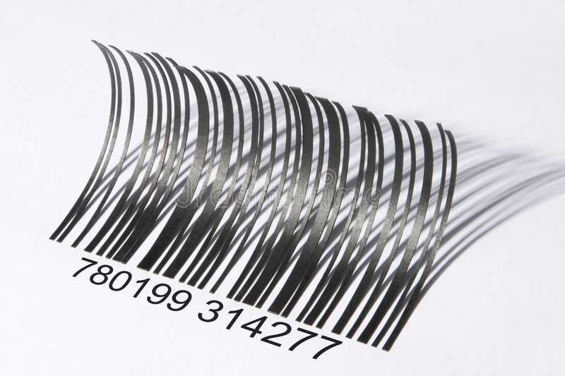 Eyelash shaped barcode. Barcode that shaped like eyelashes, a bit harsh lighting was used here to produced strong shadow to enhance the effect. The numbers were royalty free stock photo