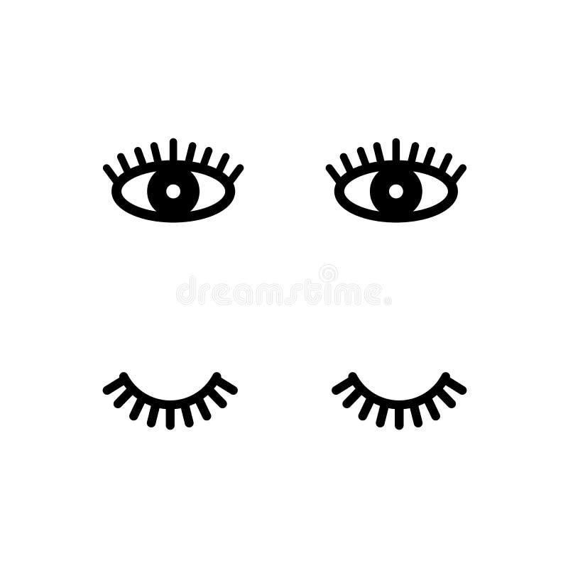 eyelashes Öffnen Sie sich und nahe Augen Nette Peitschen Auch im corel abgehobenen Betrag lizenzfreie abbildung