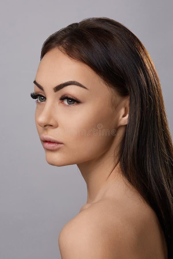 Eyelashes extensions. Fake Eyelashes. stock photography