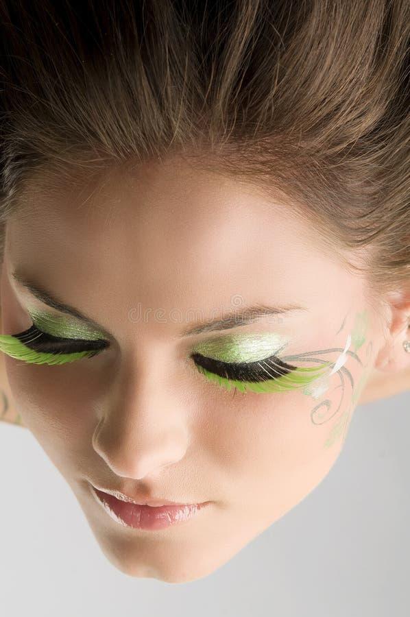 Eyelashes green royalty free stock photo