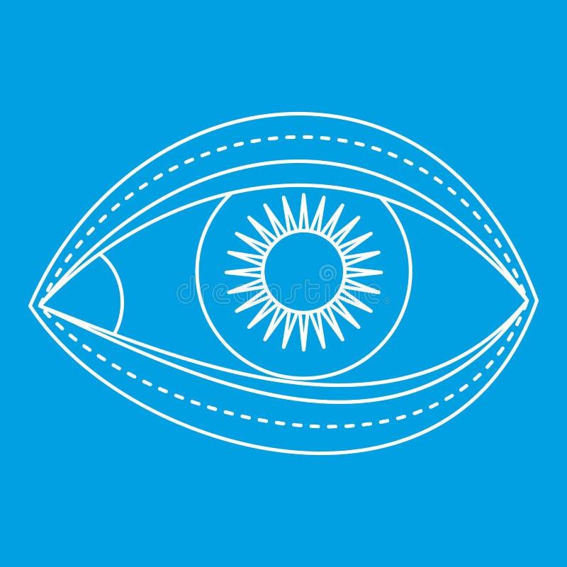 Eyelid surgery icon, outline style. Eyelid surgery icon blue outline style vector illustration. Thin line sign stock illustration