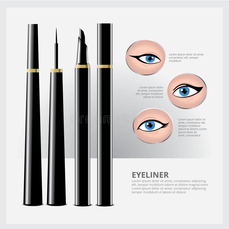 Eyeliner Packaging with Types of Eye Makeup royalty free illustration