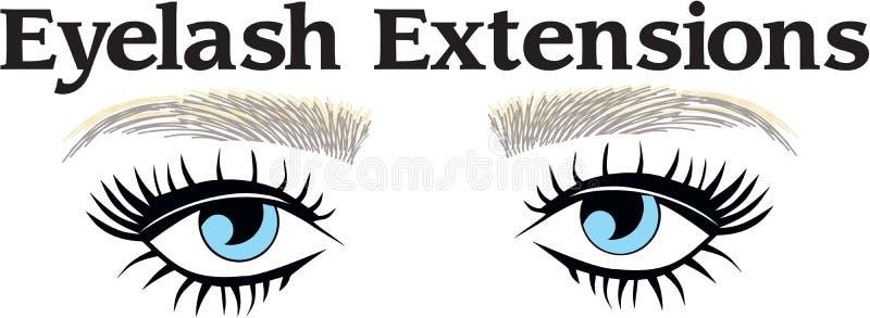 Eyelsah extentions and eyebronws hair. Eyes long eyelashes threading salon vector illustration