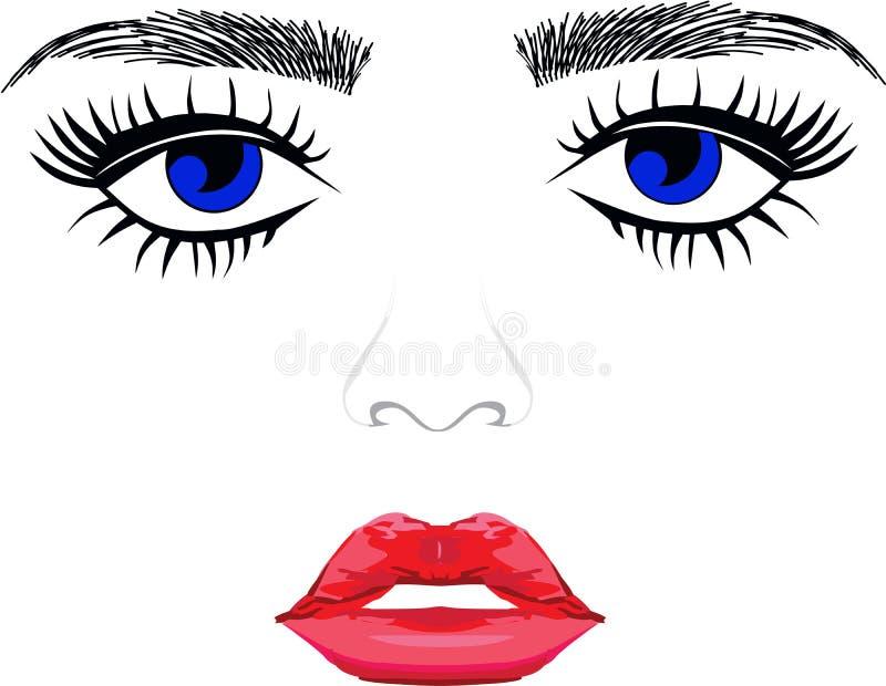 Eyelsah extentions and eyebronws hair full lips. Eyes long eyelashes threading salon full pillow lips blue eyes royalty free illustration