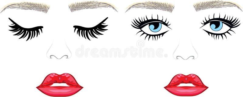 Eyelsah extentions and eyebronws hair full lips. Eyes long eyelashes threading salon full pillow lips closed and open blue eyes vector illustration