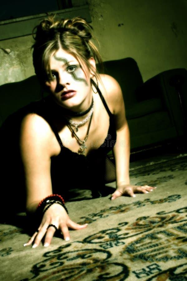 eyes зеленый цвет goth девушки стоковое фото