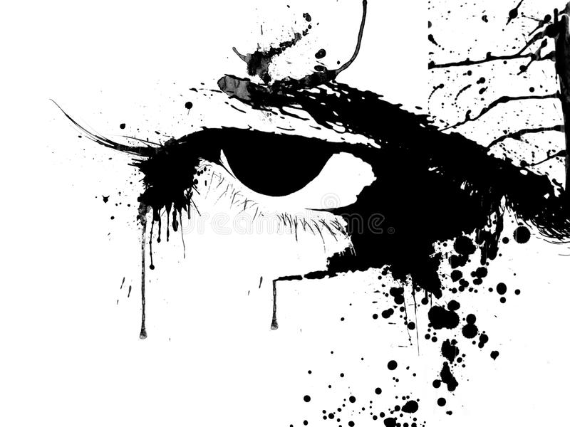 Eyes. Male eyes abstract scary look, ink splat vector illustration