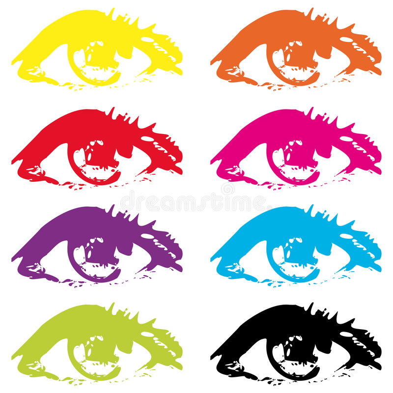 Eyes. Different colored eyes on white background royalty free illustration