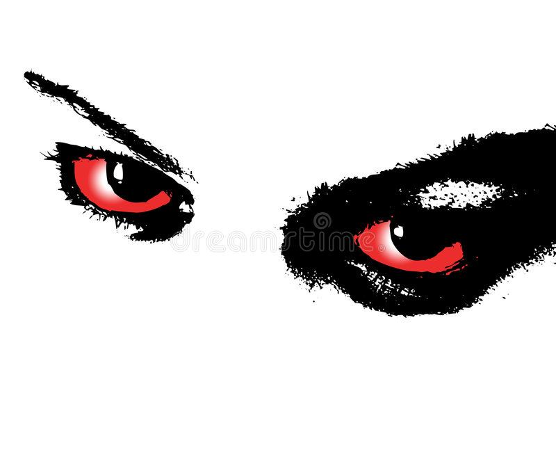 The eyes. Dangerous cruel look of female eyes royalty free illustration