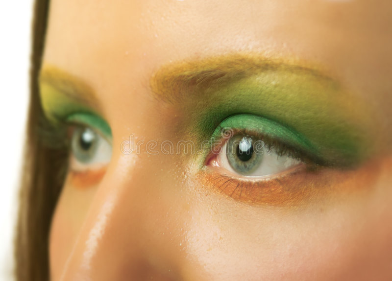 Eyes. Macro photography of eyes with make up of young girl royalty free stock photo