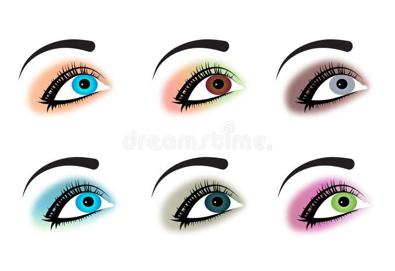 Eyes. Set of six beautiful eyes royalty free illustration