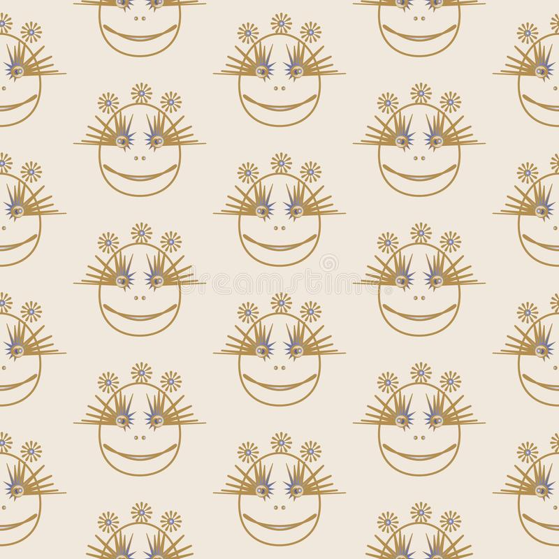 The eyes of another planet, Netrivail abstract floral geometric pattern, background, vector seamless, vector illustration