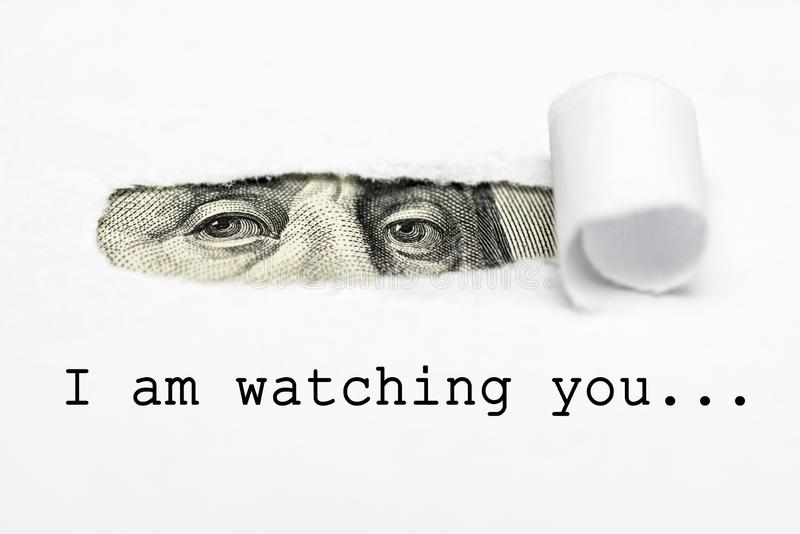 Eyes of Benjamin Franklin`s with text I am watching you!  Big brother is watching you vector illustration