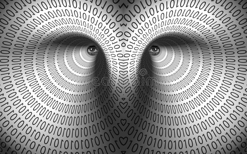 Eyes in binary tunnel vector illustration