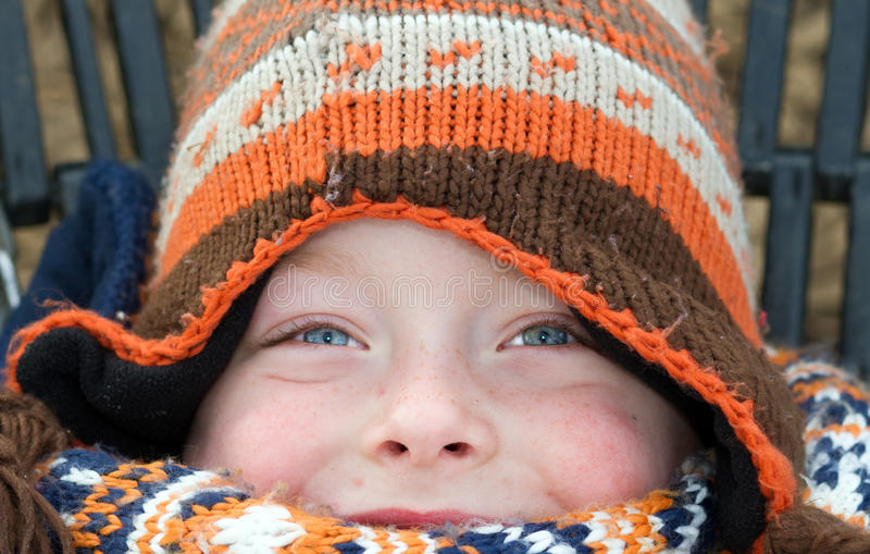 eyes of a boy on a cold winters day royalty free stock photos