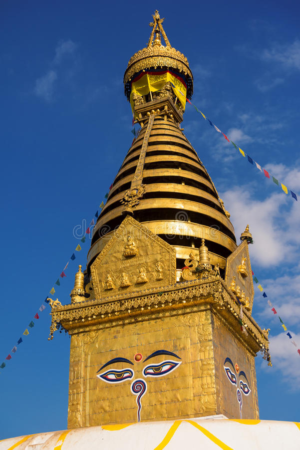 Eyes of Buddha. Wisdom eyes of Buddha in Swayambhunath Stupa after the earthquake ,Kathmandu, Nepal. Eyes of Buddha. Wisdom eyes of Buddha in Swayambhunath stock photo