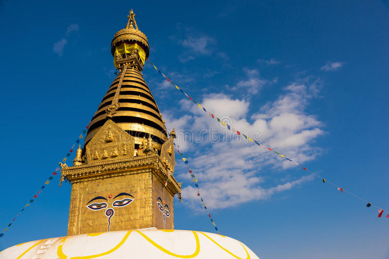 Eyes of Buddha. Wisdom eyes of Buddha in Swayambhunath Stupa after the earthquake ,Kathmandu, Nepal. Eyes of Buddha. Wisdom eyes of Buddha in Swayambhunath stock images