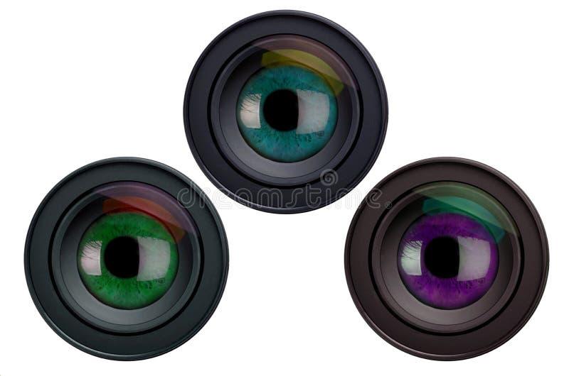 Eyes in camera lenses royalty free illustration