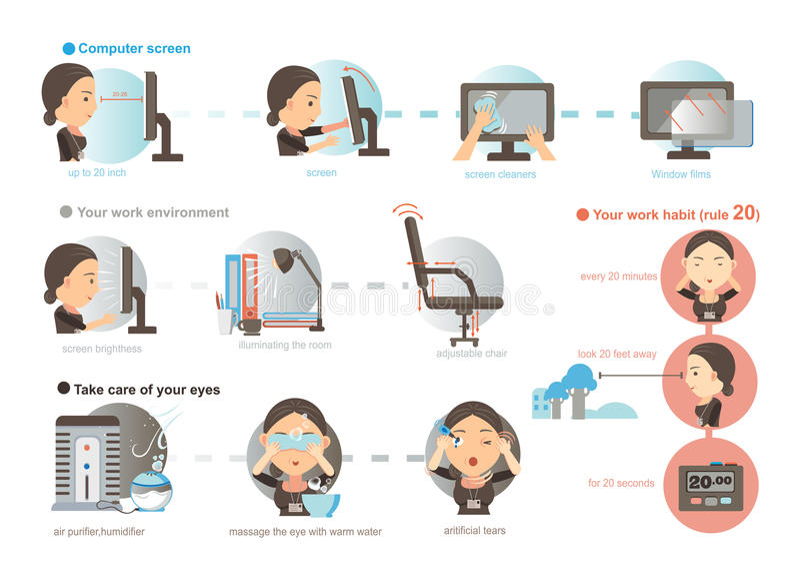 Eyes Care. Working women Prevention of Eye Fatigue.illustrations ,cartoon vector illustration