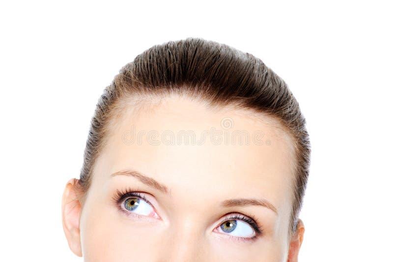 eyes den head delrullningen för kvinnlign arkivfoton
