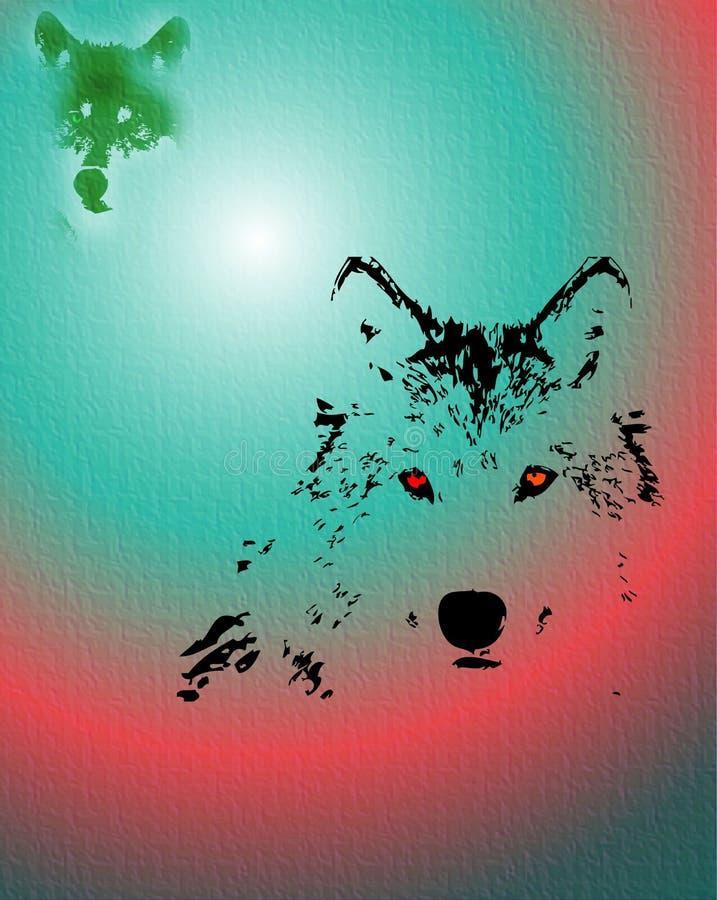 eyes den röda wolfen royaltyfri illustrationer