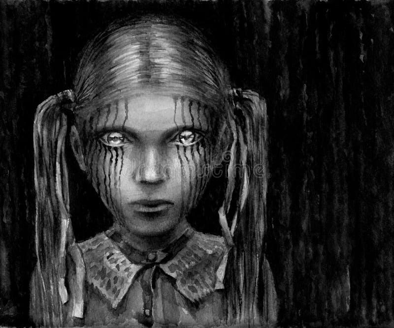 eyes flickan som skiner royaltyfri illustrationer