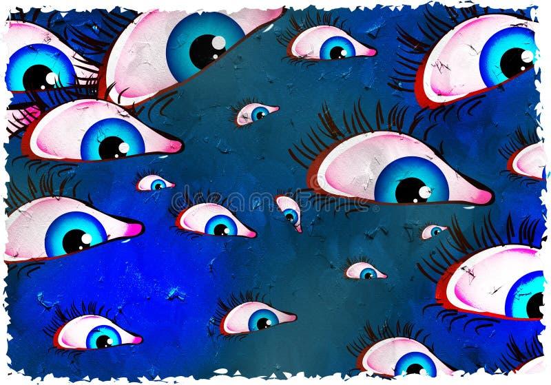 eyes grunge royaltyfri illustrationer