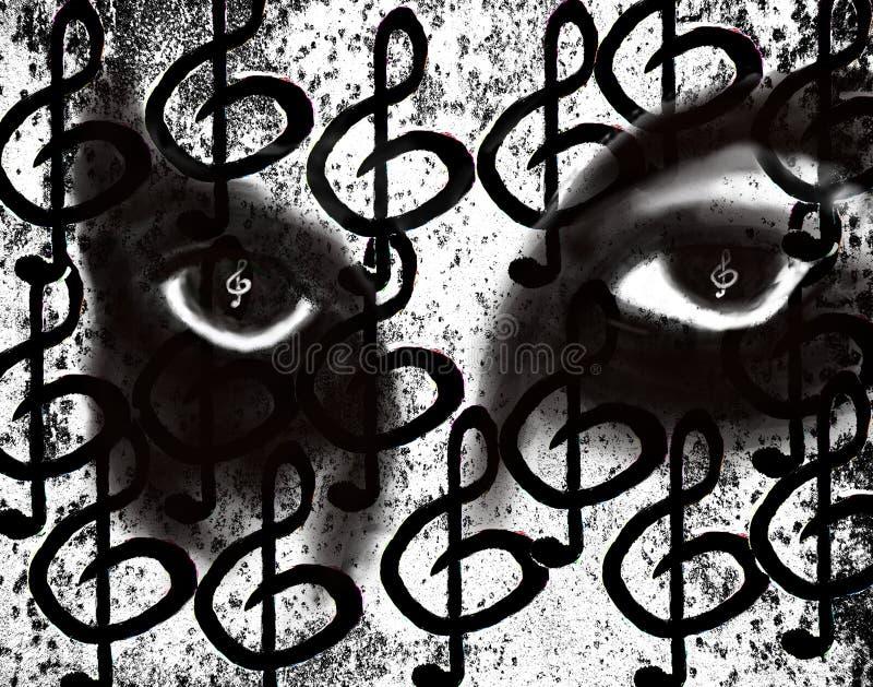 eyes grungemusik stock illustrationer