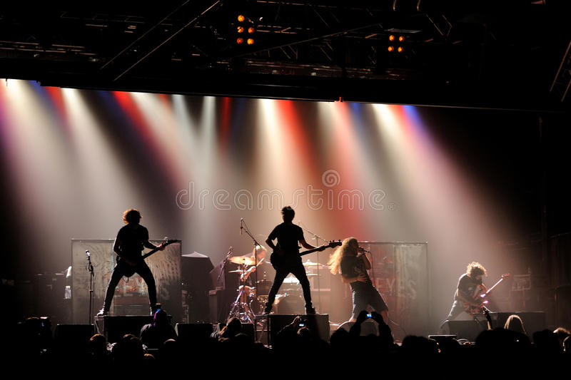 The Eyes, heavy metal band, live music show at Razzmatazz stage. BARCELONA - FEB 5: The Eyes, heavy metal band, live music show at Razzmatazz stage on February 5 stock photography