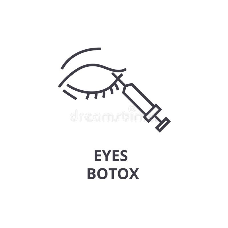 Eyes a linha fina ícone do botox, sinal, símbolo, illustation, conceito linear, vetor ilustração royalty free