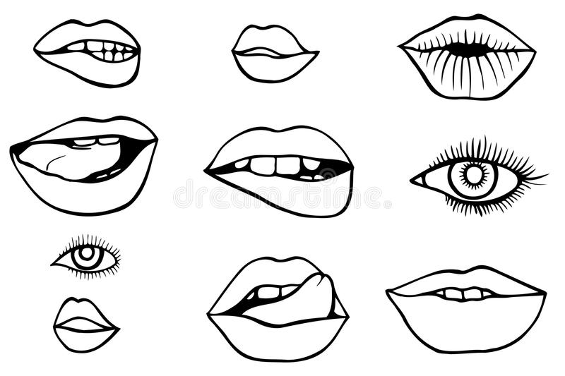 Eyes and lips icons set. Fashion patch set with lips and eyes. Set of stickers and patches vector illustration
