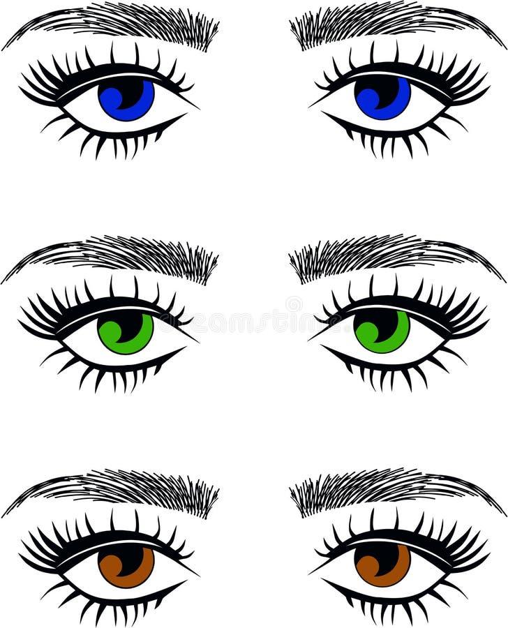Eyes long eyelashes threading salon stock illustration