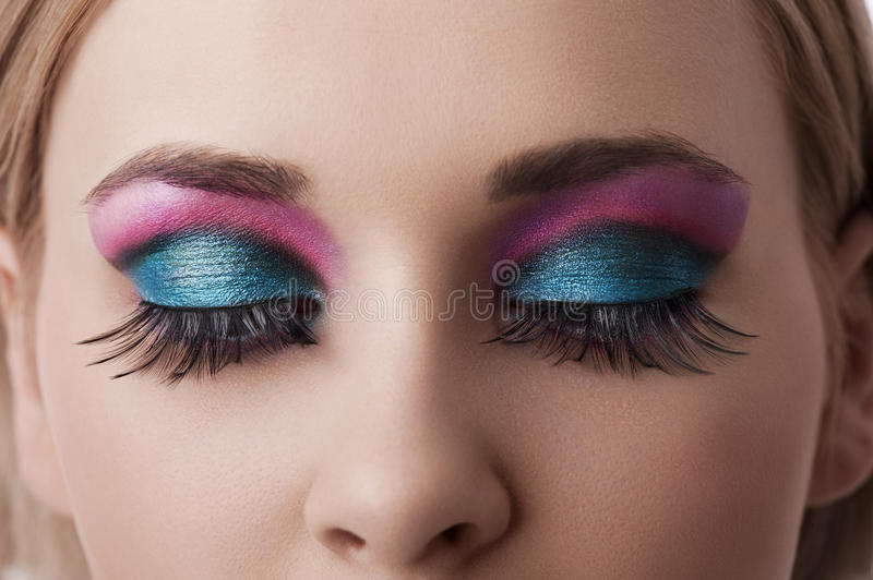 Eyes makeup closeup royalty free stock image